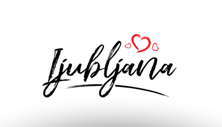 Beautiful hand written text typography design of europe european city ljubljana name logo with red heart suitable for tourism or visit promotion