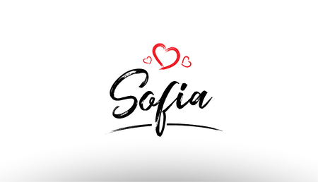 Beautiful hand written text typography design of europe european city sofia name logo with red heart suitable for tourism or visit promotion