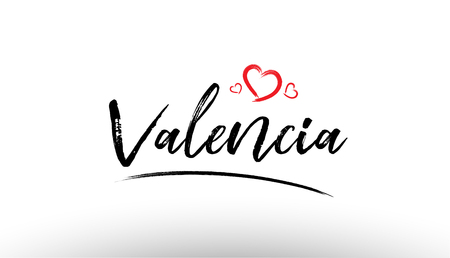 Beautiful hand written text typography design of europe european city valencia name logo with red heart suitable for tourism or visit promotion