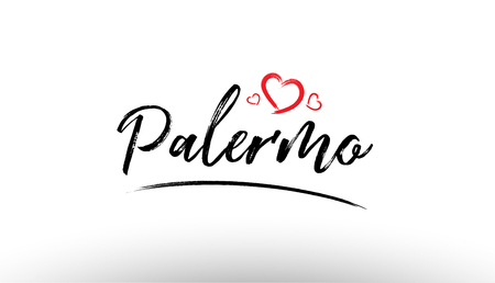 Beautiful hand written text typography design of europe european city palermo name logo with red heart suitable for tourism or visit promotion Illustration
