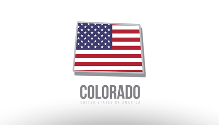 Vector illustration of colorado county state with US united states flag as a texture suitable for a map logo or design purposes Illustration