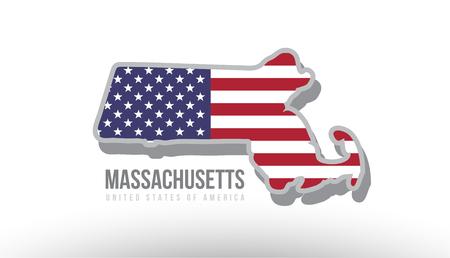 マップ ロゴまたはデザインの目的に適したテクスチャとして米国合衆国フラグを持つマサチューセッツ州のベクトル図。