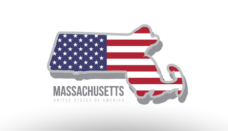 Vector illustration of Massachusetts county state with US united states flag as a texture suitable for a map logo or design purposes. Illustration