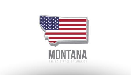 マップ ロゴまたはデザインの目的に適したテクスチャとして米国合衆国フラグを持つモンタナ州のベクトル図。  イラスト・ベクター素材