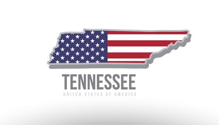 Vector illustration of Tennessee county state with US united states flag as a texture suitable for a map logo or design purposes.