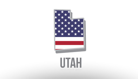 Vector illustration of Utah county state with US united states flag as a texture suitable for a map logo or design purposes. 向量圖像