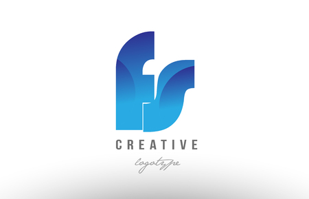 Design of alphabet letter logo combination fs f s with blue gradient color for a company or business