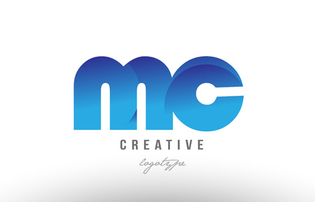 Design of alphabet letter logo combination mc m c with blue gradient color for a company or business
