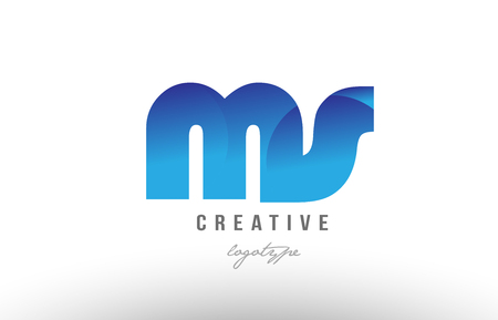Design of alphabet letter logo combination ms m s with blue gradient color for a company or business Иллюстрация