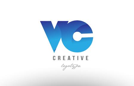 アルファベット文字のロゴの組み合わせvc v c のデザインと、企業や企業向けの青いグラデーションカラー  イラスト・ベクター素材
