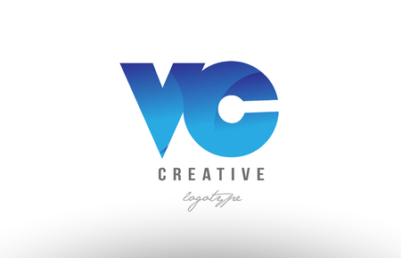 Design of alphabet letter logo combination vc v c with blue gradient color for a company or business