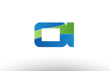 Design of alphabet letter logo combination oi o i with blue green color suitable as a logo for a company or business