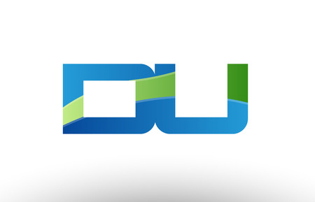 Design of alphabet letter logo combination du d u with blue green color suitable as a logo for a company or business