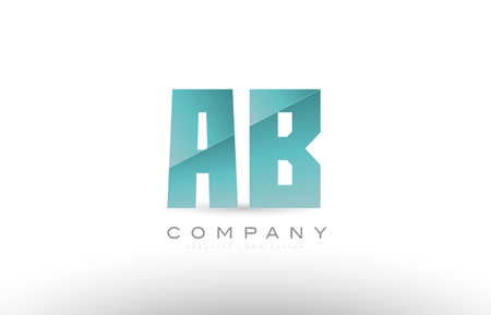 Design of alphabet letter ab a b with green gradient color suitable as a logo for a company or business Illustration