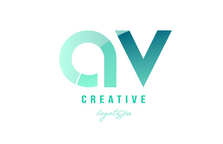 Design of alphabet modern letter logo combination av a v with green pastel gradient color for a company or business