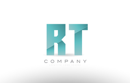 Design of alphabet letter rt r t with green gradient color suitable as a logo for a company or business