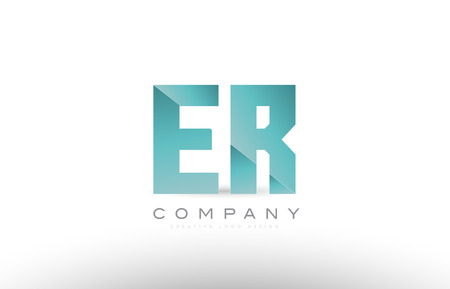 Design of alphabet letter er e r with green gradient color suitable as a logo for a company or business