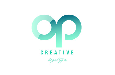 Design of alphabet modern letter logo combination op o p with green pastel gradient color for a company or business