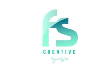 Design of alphabet modern letter logo combination fs f s with green pastel gradient color for a company or business Ilustração