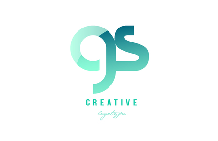 Design of alphabet modern letter logo combination gs g s with green pastel gradient color for a company or business
