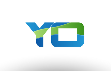 Design of alphabet letter logo combination yo y o with blue green color suitable as a logo for a company or business