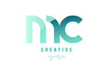 Design of alphabet modern letter logo combination mc m c with green pastel gradient color for a company or business