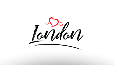 Beautiful hand written text typography design of europe european city london name logo with red heart suitable for tourism or visit promotion Stock Illustratie