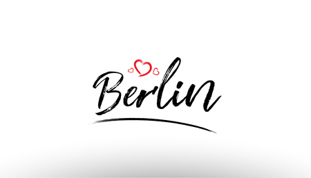 Beautiful hand written text typography design of europe european city berlin name logo with red heart suitable for tourism or visit promotion