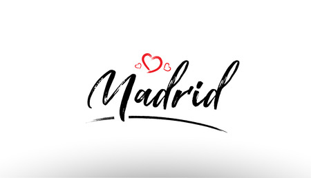 Beautiful hand written text typography design of europe european city madrid name logo with red heart suitable for tourism or visit promotion