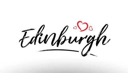 Beautiful hand written text typography design of europe european city edinburgh name logo with red heart suitable for tourism or visit promotion Illustration