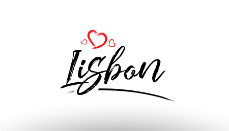 Beautiful hand written text typography design of europe european city lisbon name logo with red heart suitable for tourism or visit promotion