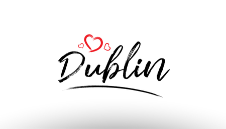 Beautiful hand written text typography design of europe european city dublin name logo with red heart suitable for tourism or visit promotion