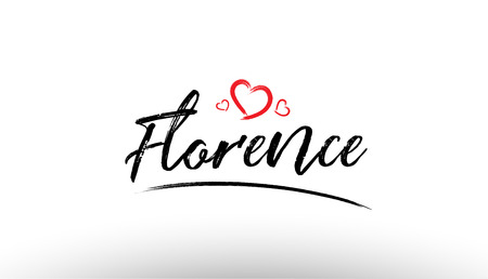 Beautiful hand written text typography design of europe european city florence name logo with red heart suitable for tourism or visit promotion Vectores