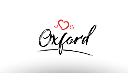 Beautiful hand written text typography design of europe european city oxford name logo with red heart suitable for tourism or visit promotion Illustration