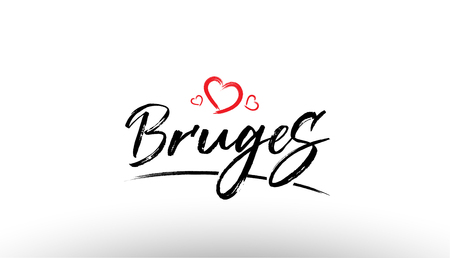 Beautiful hand written text typography design of europe european city bruges name logo with red heart suitable for tourism or visit promotion