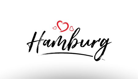 Beautiful hand written text typography design of europe european city hamburg name logo with red heart suitable for tourism or visit promotion Illustration