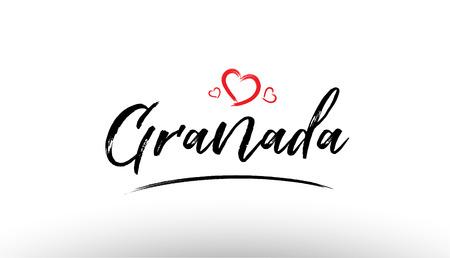 観光や訪問プロモーションに適した赤いハートとヨーロッパの都市グラナダの名前のロゴの美しい手書きのテキストタイポグラフィデザイン  イラスト・ベクター素材