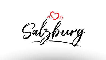 Beautiful hand written text typography design of europe european city salzburg name logo with red heart suitable for tourism or visit promotion Vettoriali