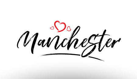 Beautiful hand written text typography design of europe european city manchester name logo with red heart suitable for tourism or visit promotion