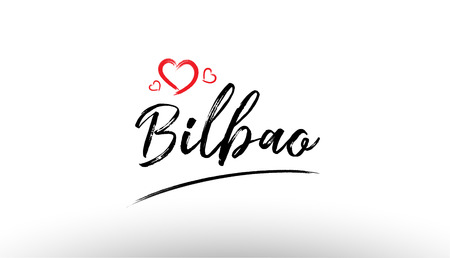 Beautiful hand written text typography design of europe european city bilbao name logo with red heart suitable for tourism or visit promotion