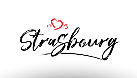 Beautiful hand written text typography design of europe european city strasbourg name logo with red heart suitable for tourism or visit promotion