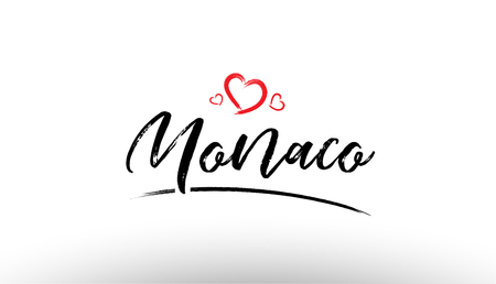 Beautiful hand written text typography design of europe european city monaco name logo with red heart suitable for tourism or visit promotion Illustration