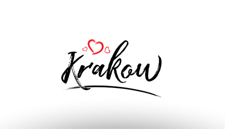 Beautiful hand written text typography design of europe european city krakow name logo with red heart suitable for tourism or visit promotion Illustration