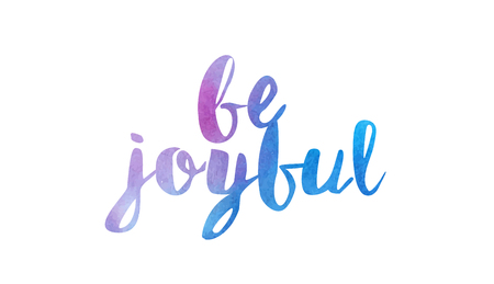 be joyful beautiful watercolor text word expression typography design suitable for a logo banner t shirt or positive quote inspiration design 일러스트