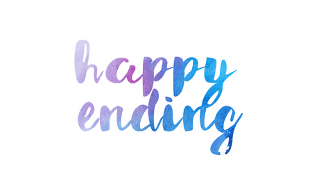 happy ending beautiful watercolor text word expression typography design suitable for a logo banner t shirt or positive quote inspiration design Illustration