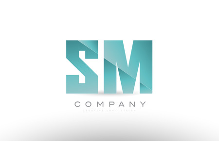 Design of alphabet letter sm s m with green gradient color suitable as a logo for a company or business