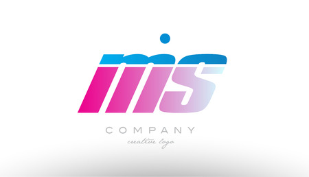 ms m s alphabet letter combination in pink and blue color. Can be used as a logo for a company or business with initials 向量圖像