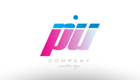pu p u alphabet letter combination in pink and blue color. Can be used as a logo for a company or business with initials