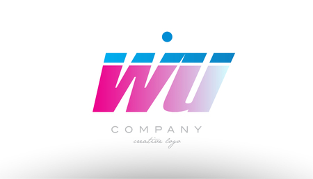 wu w u alphabet letter combination in pink and blue color. Can be used as a logo for a company or business with initials Illustration