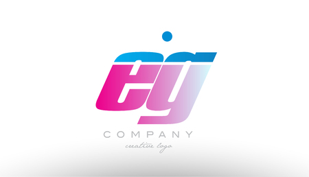 eg e g alphabet letter combination in pink and blue color. Can be used as a logo for a company or business with initials